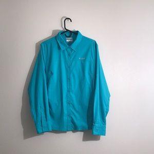 Columbia Omni-Shade Teal LS Button Down Shirt XL